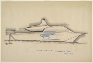 "Design for a lightweight, integrated galley. At center, side elevation shows yacht or other marine vessel with rear motor/rudder floating atop stylized waves. Sternward, vessel has upper cabin positioned at center, below and to the right of which is a secondary cabin; within this space, the integrated galley is indicated in blue crayon (also with an arrow extending upward from annotation ""LIGHTWEIGHT INTERGRATED [sic] GALLEY"" below). Galley features darker blue hood and mid-height surface as well as white volume with buttons/knobs. Signed ""HOYT"" in graphite at lower right."