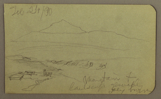 Drawing, Mountain, landscape; Verso: Tree, Mountains, February 24, 1890