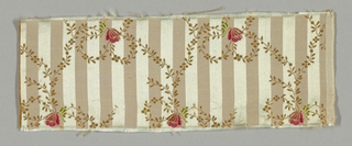 Ground narrowly striped vertically light blue satin and pale pink plain cloth. Over this a minute trailing vine, in secondary cream silk weft, looping into bow form and holding in knot a small bell-shaped blossom, which is brocaded in cerise, pink and green. Right selvage present.