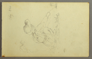 Drawing, Boy pulling sailboat, 1844