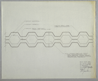 Design detail for modular wall S. At center, partial section indicates various components of prefabricated wall including: epoxy coating, kraft paper, epoxy bond between upper and lower half, and interior space to conceal wires and plumbing. Overall undulating hexagonal shape with different textures indicated. Additional instructions provided at lower right. Architectural stamp dated 2/19/62 and signed by Earl E. Hoyt and Wes Junker at lower right.