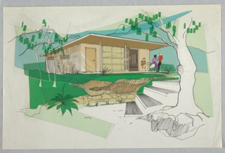 Design for prefabricated house, likely vacation home, seen in exterior perspective. Modular house with upward-slanting flat roof clad in vertical siding. Front façade features entry door as well as sliding door of twelve glass window panes on track. Front porch covered by overhanging roof supported by four thin columns; at right, three figures clustered either seated or standing. At left, two rectangular windows perforate siding. House situated in grassy area with retaining wall in foreground at steps at right. Trees accent the landscape, as do a few shrubs. Brown, beige, purple, red, green and blue Cello-Tak layered over tracing paper.