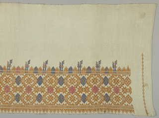 Valance in white linen with border brocaded with geometric ornaments based on stars and lozenges in blue, light brown and rose linen. Brocading done in imitation of embroidery.