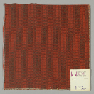 Plain weave with red-orange warp and brown weft.