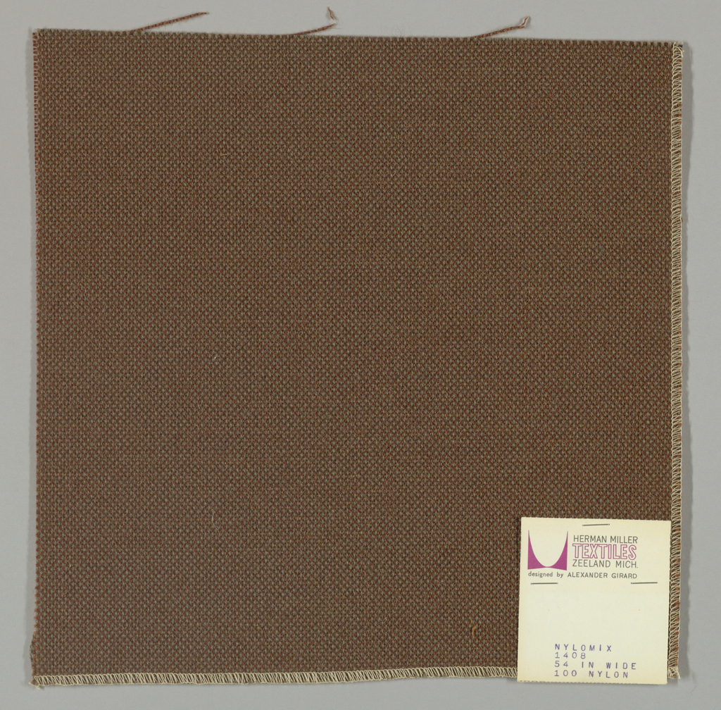 Plain weave with with grey-brown warp and brown weft.