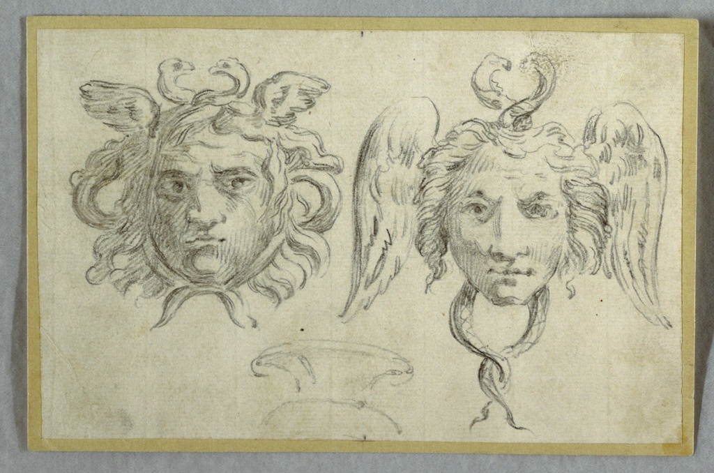 Drawing, Mask with Two Heads;  Mask with Two Serpent Heads, 1800–1825