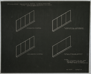 Photostat of design showing suggested reversible board configurations for wall-mounted combination easel, projection screen and chart storage unit for Donald Deskey Associates' office. Four perspective showing corkboard surface (upper left), alternating corkboard and chalkboard surface (upper right), chalkboard surface (lower left), and motion picture screen in down position (lower right). Basic structure consists of four panels. Annotated in graphite, and signed and dated in the same at lower right: E. HOYT 3/26/62.
