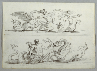 Two different compositions situated one on top of other. Above, sea monster clubbing forehead of centaur.  Woman, riding centaur, jumps into water.  Below, centaur with satyr woman riding on his back, holds club in lowered arm and stag head against mouth of monster.
