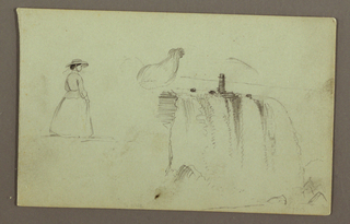 Horizontal view of the falls shown closer than in 1917-4-149-a,with a girl shown from the right back, at left, and a crouching chicken, at center.