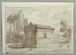 Temple structure seen from backside. Stands upon base and has window at its long side, pilasters at corners.  Surrounded by pavement with upright stones in corners. Middle distance, desk and two figures.