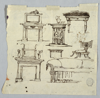 Horizontal rectangle. Verso: two chimney pieces, part of the elevation of a sofa, a console table,  a wash stand, a klismos chair,  Recto: a bowl, lance and helmet, and medallions disposed in two rows;  in each is a walking or running putto. Above each medallion is written by Giani with ink, respectively: asta, elmo,   sc(u)do , spade.