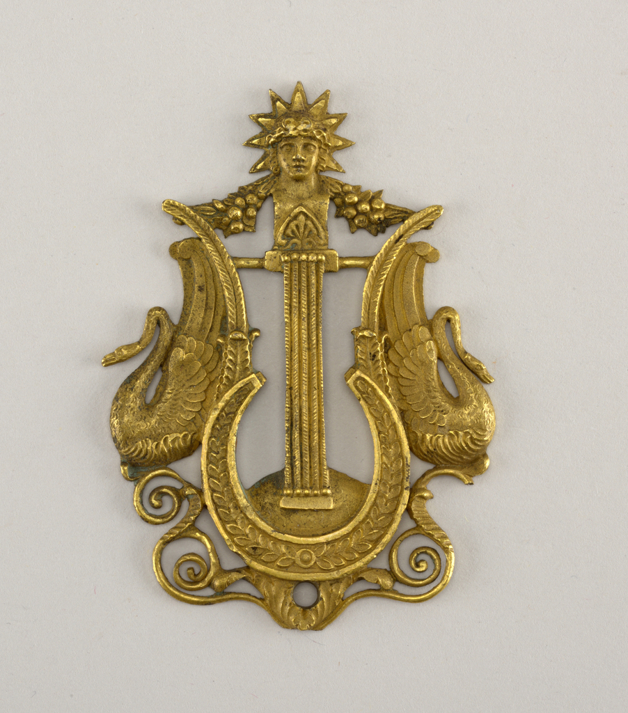 Lyre with swans.