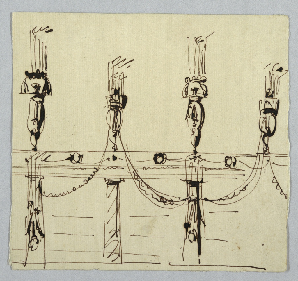 Drawing, Wall Decoration with Columns, Entablature, and Pilasters ...