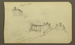Drawing, Building, bridge; Verso: Figure, church, 1890–93