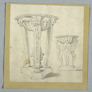 Tripod in classical style with three legs standing upon base in center of which stands a pineapple.  Four figures, standing upon base, carry bowl. Only toe shown of fourth figure in rear. Drapery festoons connect clasped and raised hands of figures.