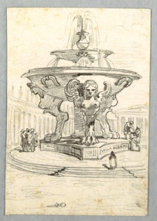 Large fountain with two bowls, lower basin supported by central post and three winged Harpies. Three groups of people nearby on platform.