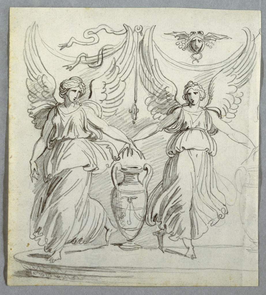 Two winged victories on either side of amphora resting on top of pedestal.