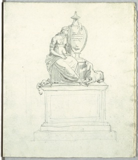 Study of funeral monument with personification of poetry, urn and dog; frieze of base of funeral monument; study of funeral monument with female figure and dog.