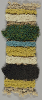 Hand woven pile bands of black, white, chartreuse and blue.