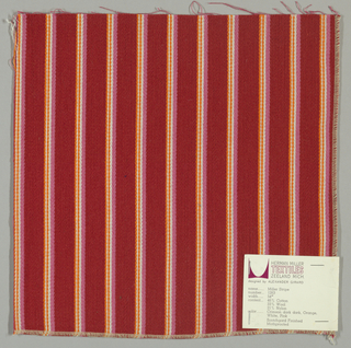 Warp-faced twill weave in vertical stripes of dark red alternating with narrow stripes of pink, white and orange.