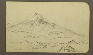 Drawing, Peak of Mt. Orizaba; Verso: Trees, ridge, 1890–93