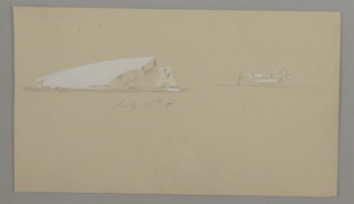 On a single sheet, two depictions of floating icebergs, each with planes highlighted in white gouache and a horizon line below.