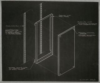 Photostat of design for wall-mounted combination easel for Donald Deskey Associates office. Detail of modular panels shown in exploded perspective: vertical rails or stack channels mounted to wall; to this a modular steel frame clips in and is finished with addition of panel—either chalk- or corkboard—held to frame by magnetic inserts that lock easel to metal frame. Original drawing signed at lower left: E. HOYT 3/26/62.