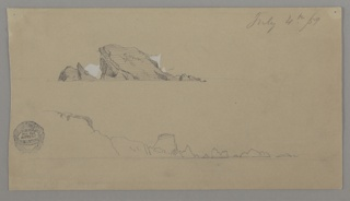 "Two sketches of icebergs. Above, an iceberg protruding from the sea, the word ""green"" inscribed within its form. Below, an outline of a long, dissolving iceberg."