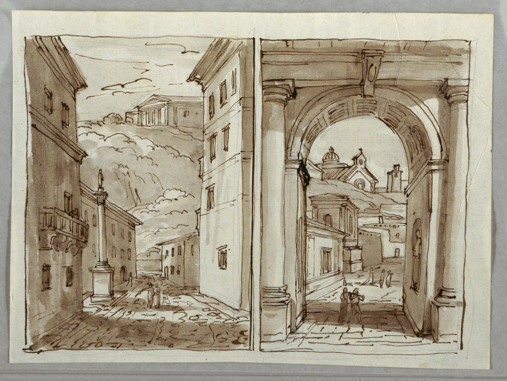 Two views of streets in Bologna. At left, two figures stand in a street, in front of a column, possibly the Column of Saint Dominic. High in the distance, a building with triangular pediment stands on a rocky outcrop. At right, two figures stand under a coffered arch. Architecture of the town, and two other figures are visible in background.