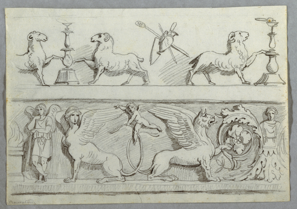 Friezes featuring candelabrum, in center between two symmetrically disposed rams. Trophy of non-military objects. Frieze below. At left, altar beside genius holding torch.  Sphinx and griffon sitting with backs toward each other, crossed tails. Above, putto flying seizing wing of sphinx. At right, torso of woman with head, springing from leaves.