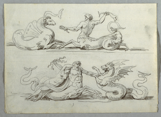 Above at left, a monster with ram head and butterfly wings. A young centaur seen from left and back, has horn in left hand and swinging a fish with right.  Young satyr stepping on his tail.  Below, monster at right, centaur has seized it with left hand. Upon centaur's back lies awoman.
