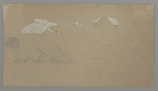 At upper right, distant views of two icebergs. At upper left and lower left and right, three designs of single icebergs, each with a horizon line below.