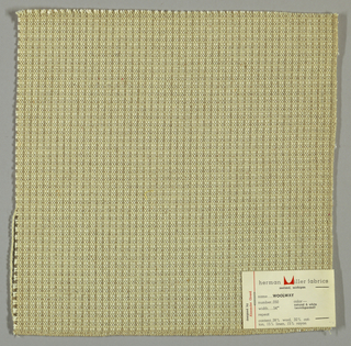 Textured plain weave in white, off-white and light brown. Warp is comprised of a heavy yarn in off-white along with lighter threads in light brown and white. Weft threads are off-white and light brown.