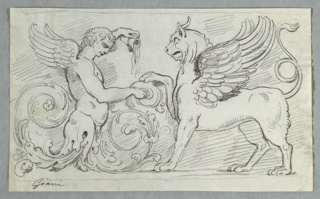 Drawing, Sculptured Frieze with Half-Figure of Winged Boy and Griffon, late 18th century