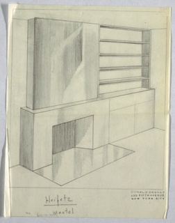 Design for fireplace wall mantel for Jascha Heifetz apartment. Perspective shows rectilinear fireplace with reflective surface, either tile or polished stone. Smooth, undecorated surface above fireplace. Adjacent shelving and cabinet unit to right of fireplace with five shelves above unit. Base has one drawer above a two-door cabinet.