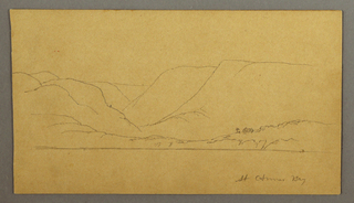 Drawing, Mountainous bay, possibly 1859