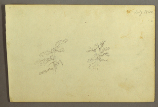Recto: Horizontal view with a tree at center left, two trees and bushes at right.