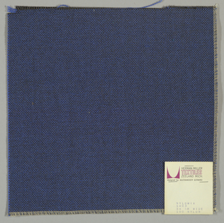 Plain weave with dark grey warp and bright blue weft.