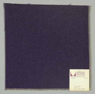 Plain weave with black warp and purple weft.