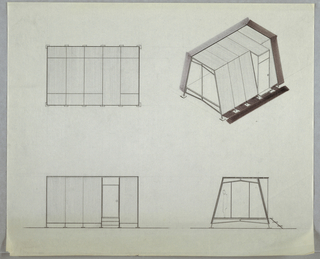 Design for a prefabricated modular house: three exterior elevations and one perspective. At upper right, perspective shows trapezoidal structure poised above the ground, supported by steel rods that run up sloped sides and terminate on ground in square-plan feet. At front, two-part window bay; four additional modules, the third of which is right-angled with a door toward rear. At upper left, side elevation; lower left; door wall elevation; at lower right, rear elevation showing figure within and three steps leading from door to ground level.