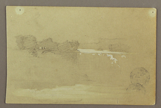 Recto: Horizontal view of Hennequin Point and the American falls at Niagara.  Verso: Probably an imaginary landscape showing  a valley stretching backwards with a town situated upon a plateau in the distance, drawn in the opposite direction from the verso.
