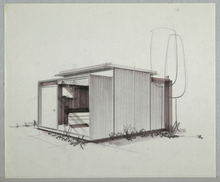 Design for prefabricated modular house. Perspective in graphite, brown and gray marker shows rectilinear house whose foundation is accented by vegetation. Front elevation consists of opaque door at left with transom above and large plate glass window at right. Inside, vertical striations indicate use of prefab wall paneling. Seating or case furniture positioned in view, with globe-like pendant lighting above. Central volume of structure taller than front or rear modules, with additional clerestory windows overhung by horizontal roof. Notional trees indicated at right.