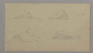 Four sketches of icebergs arranged in two rows on a single sheet.