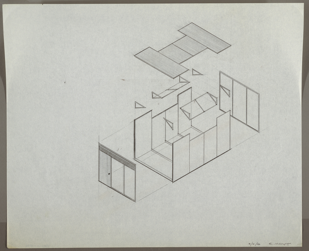 """Design for modular wall system. Exploded diagram shows various prefabricated structural elements: front entry portal with windows; wall, floor, and ceiling panels with truss braces and angled windows; rear window panels. Signed :2/21/62 E. HOYT"""" at lower right."""