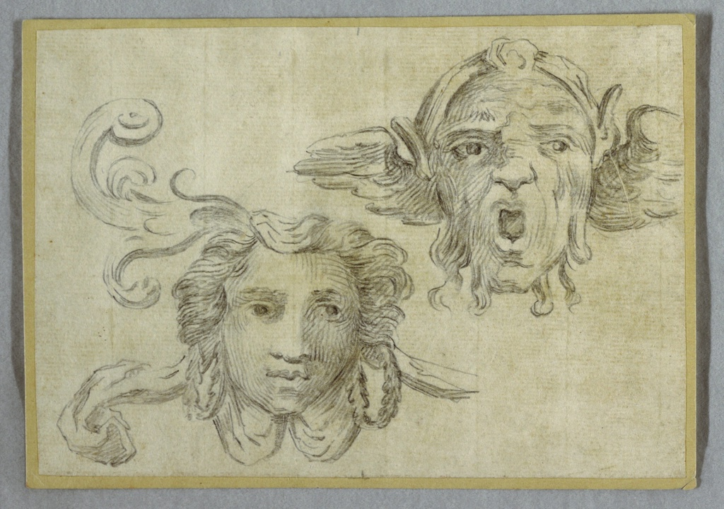Drawing, Mask with Garland and ears; Mask with Beard and Ears of Satyr, 1800–1825