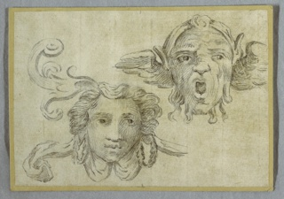 Drawing, Mask with Garland and ears; Mask with Beard and Ears of Satyr
