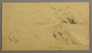 Four sketches of a mountainous seashore.