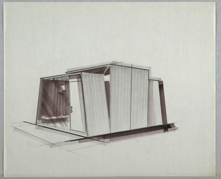 """Design for a modular, prefabricated house. At center, exterior perspective in graphite and marker shows four-module structure. At front, trapezoidal entry bay features plate glass window, door with vertical rectangular handle and transom above; through the window, modern bench and hanging globular light fixtures can be seen against a wall that would likely have been paneled with vertical, prefab material. At middle of structure, rectilinear volume fans out from trapezoidal front area and extended above its height, creating additional windows above and at sides. At rear, additional trapezoidal volume would likely surround open window """"end cap."""""""