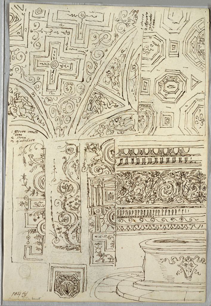 Two decorative studies of ceilings; three candelabra; frieze with shaft and emblem; Verso: barbarian head in profile; barbarian with cornucopia details from antique