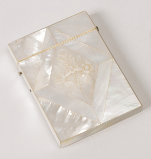 "Vertical rectangle with straight sides and hinged cover, all covered with mother-of-pearl.  On front, lozenge-shaped panel with bouquet relief. Contains card inscribed ""Miss Groves from heer affectionate little pupils."""